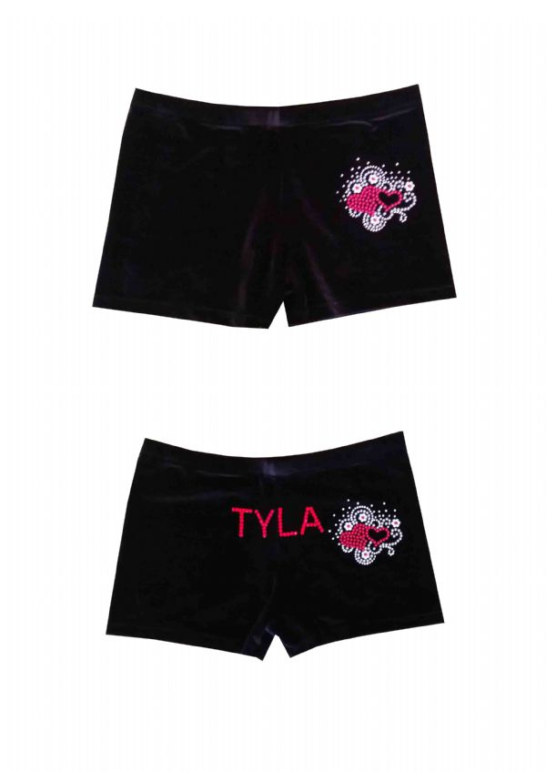 EARL124 Plain and Personalised Metallic and Velour Shorts With Heart Motif  From £18.95